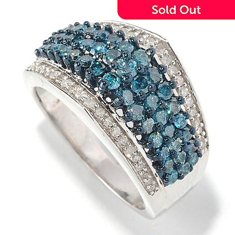 126-482 - Diamond Treasures Sterling Silver 1.32ctw Blue & White Diamond Point Ring