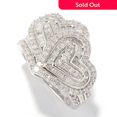 126-483 - Diamond Treasures Sterling Silver 1.00ctw Diamond Two Heart Ring
