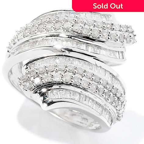 126-485 - Diamond Treasures Sterling Silver 1.00ctw Round & Baguette Diamond Bypass Ring