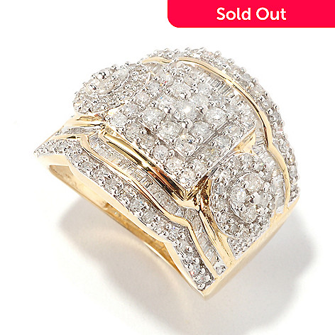 126-487 - Diamond Treasures 14K Gold 1.50ctw Round & Baguette Geometric Diamond Ring