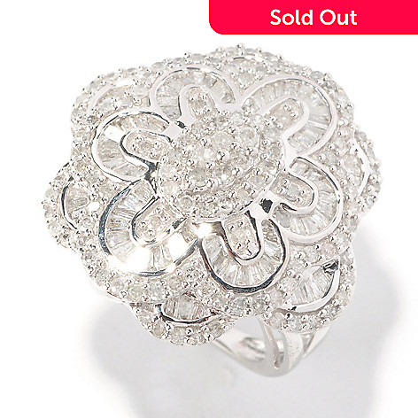 126-489 - Diamond Treasures Sterling Silver 1.50ctw Round & Baguette Diamond Flower Ring