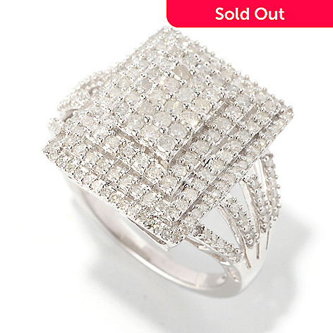 126-490 - Diamond Treasures Sterling Silver 1.00ctw Square Tiered Diamond Ring