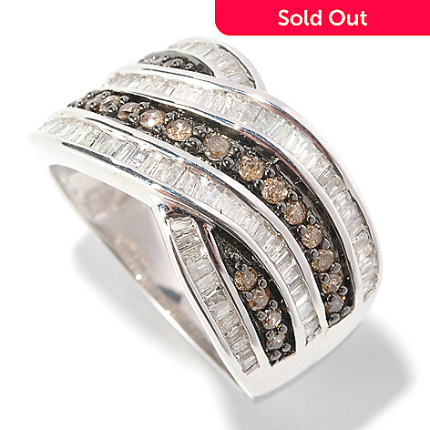 126-492 - Diamond Treasures® Sterling Silver 1.00ctw Champagne & White Diamond Crossover Ring