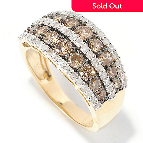 126-493 - Diamond Treasures 14K Gold 1.75ctw Champagne & White Diamond Band Ring