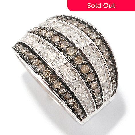 126-494 - Diamond Treasures® Sterling Silver 1.00ctw Champagne & White Diamond Wide Band Ring
