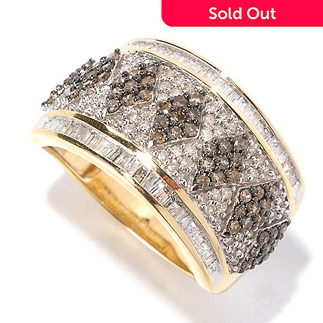 126-495 - Diamond Treasures® 14K Gold 1.00ctw Champagne & White Diamond Wide Band Ring