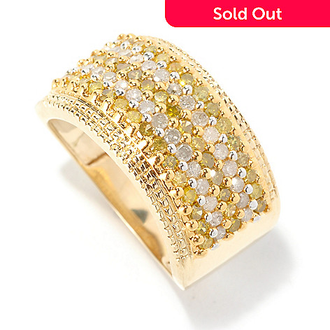 126-496 - Diamond Treasures 14K Gold 1.00ctw Yellow & White Diamond Wide Band Ring