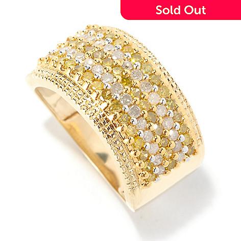 126-496 - Diamond Treasures® 14K Gold 1.00ctw Yellow & White Diamond Wide Band Ring