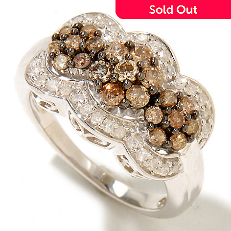 126-498 - Diamond Treasures Sterling Silver 1.00ctw Champagne & White Diamond Three-Circle Ring