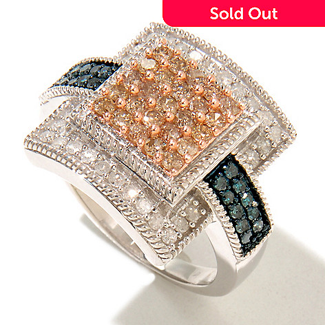 126-500 - Diamond Treasures® Sterling Silver 1.00ctw Blue, White & Champagne Diamond Ring