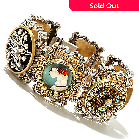 126-508 - Sweet Romance Two-tone Vintage Inspired Buttons Charm Bracelet