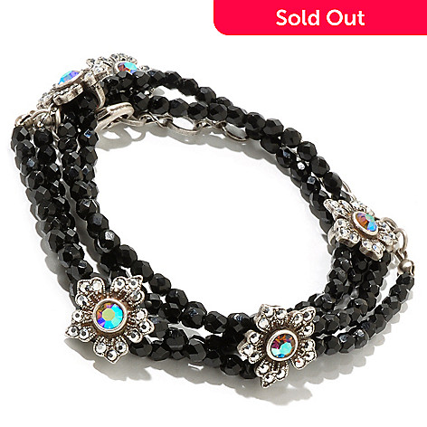 126-509 - Sweet Romance™ 14'' Silver-tone Crystal Flower Beaded Wrap Bracelet