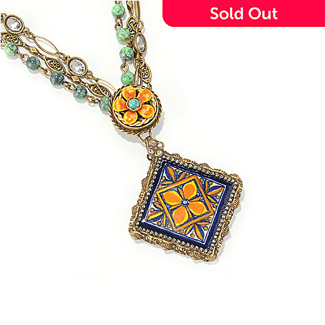 126-517 - Sweet Romance™ 18'' Gold-tone Blue & Orange Ceramic Tile Flower Necklace
