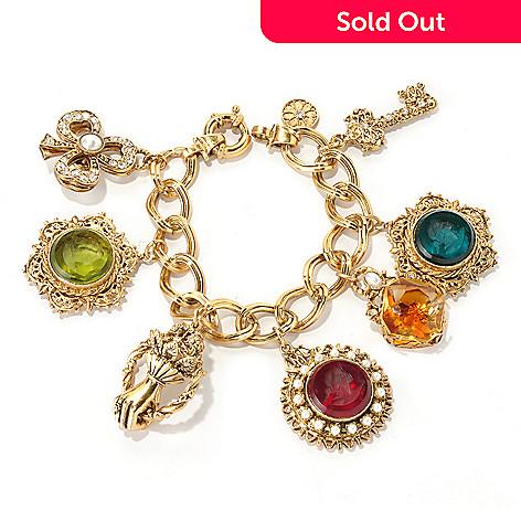 126-519 - Sweet Romance Gold-tone 7-1/2'' Carved Intaglio Charm Bracelet