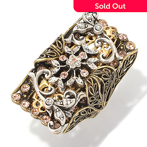 126-523 - Sweet Romance™ Two-tone Elongated Rectangular Filigree Ring