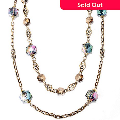 126-529 - Sweet Romance™ 31'' & 35'' Gold-tone Crystal Bead Station Necklace