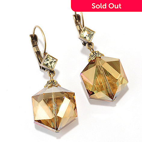 126-530 - Sweet Romance™ Gold-tone Hexagon Shaped Crystal Bead Dangle Earrings