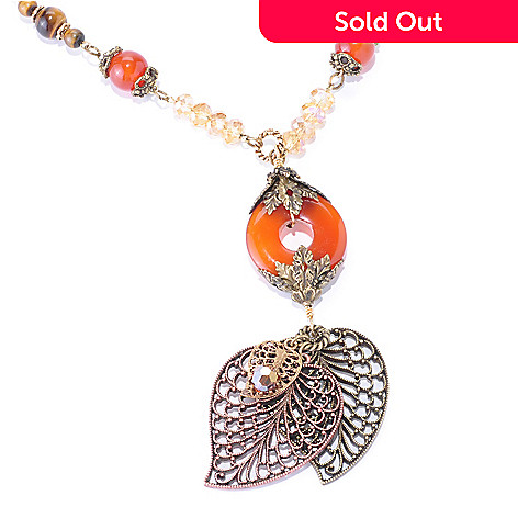 126-536 - Sweet Romance™ 26'' Gold-tone Carnelian, Glass & Crystal Leaf Necklace
