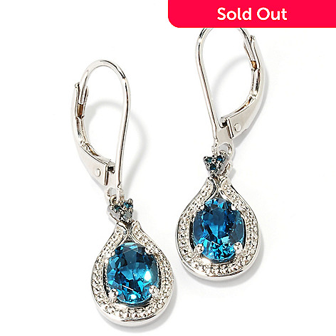 126-537 - NYC II™ 2.44ctw London Blue Topaz & Blue Diamond Dangle Earrings