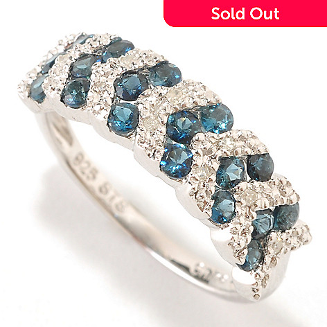 126-538 - NYC II® 0.50ctw Indicolite & Diamond Accent Chevron Band Ring