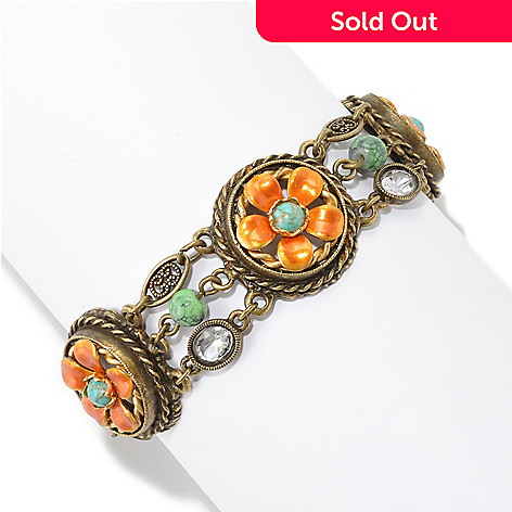 126-543 - Sweet Romance™ 7'' Gold-tone Blue & Orange Flower Bracelet