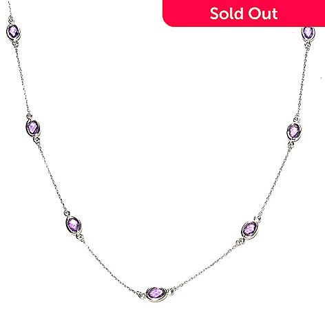 126-556 - Gem Treasures® Sterling Silver Oval Gemstone Station Necklace