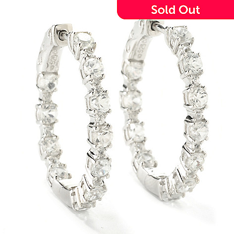 126-558 - NYC II White Zircon Inside Out Hoop Earrings w/ Clicker Back