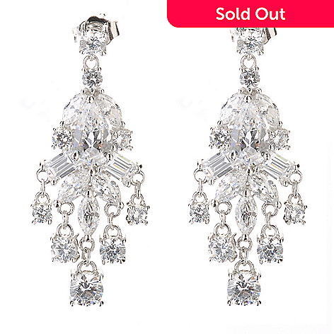 126-581 - Charlie Lapson for Brilliante® Platinum Embraced™ 7.60 DEW Multi-Cut Drop Earrings