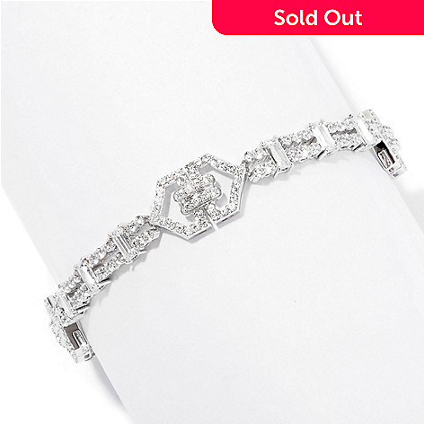 126-582 - Charlie Lapson for Brilliante® Platinum Embraced™ Round & Baguette Line Bracelet