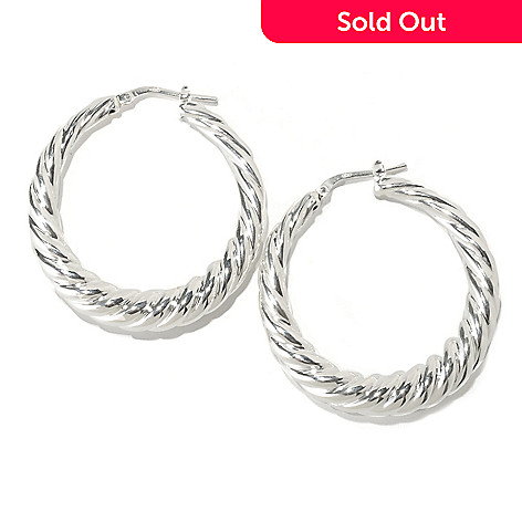 126-583 - SempreSilver™ Electroform Graduated Twist Hoop Earrings