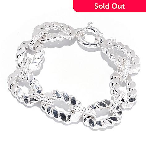 126-589 - SempreSilver™ 7'' Flat Rope & Oval Link Bracelet