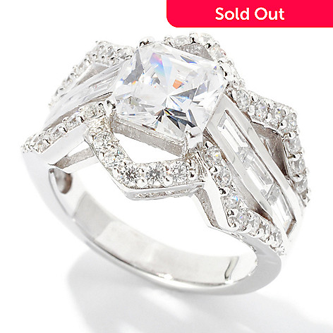 126-597 - Brilliante® Platinum Embraced™ 3.37 DEW Princess Cut Zigzag Ring