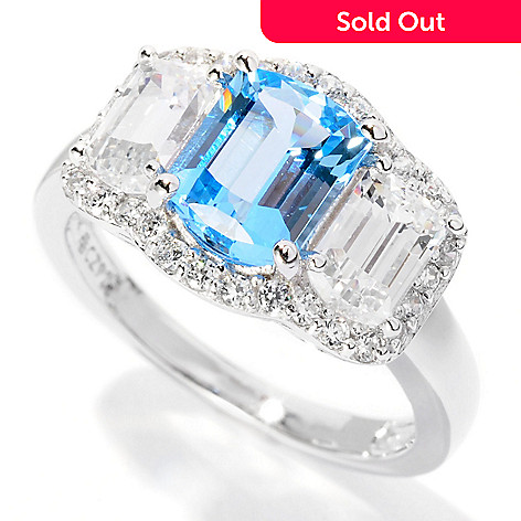 126-599 - Brilliante® Platinum Embraced™ 3.36 DEW Simulated Diamond Blue Halo Ring