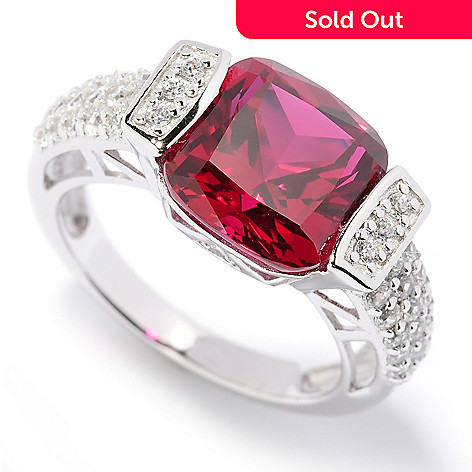 126-603 - Brilliante® Platinum Embraced™ 4.50 DEW Simulated Ruby Tension Set Ring