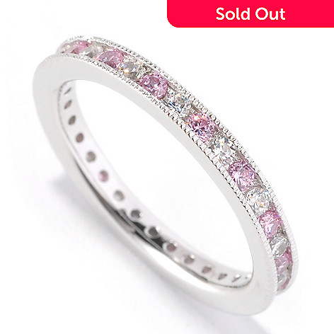 126-610 - Brilliante® Platinum Embraced™ Pink & White Simulated Diamond Eternity Band Ring