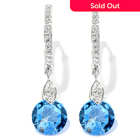 126-615 - Brilliante® Platinum Embraced™ 5.43 DEW Colored Rose Cut Drop Earrings
