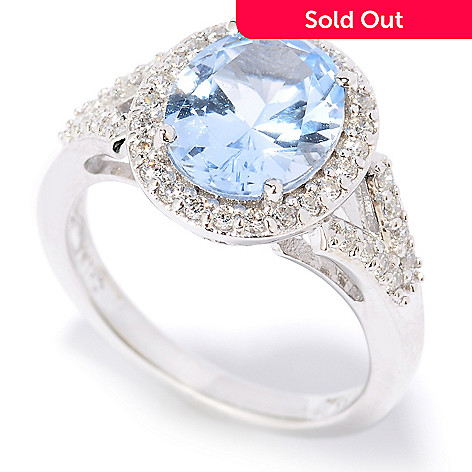 126-621 - Brilliante® Platinum Embraced™ 3.02 DEW Simulated Colored Diamond Halo Ring