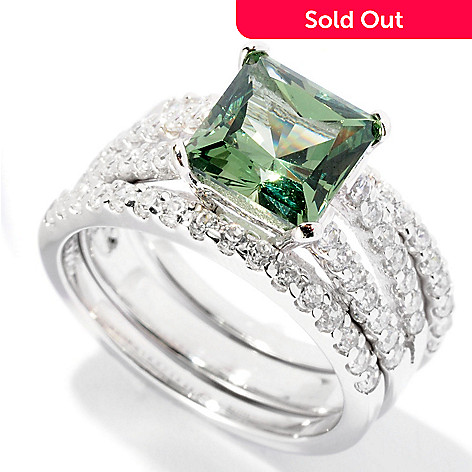 126-623 - Brilliante® Platinum Embraced™ 3.00 DEW Green Princess Cut Two-Band Ring Set
