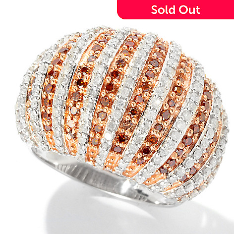 126-636 - Diamond Treasures® Sterling Silver 1.50ctw Diamond Striped Dome Ring