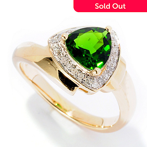 126-638 - Gem Treasures® 14K Gold 0.99ctw Trillion Shaped Chrome Diopside & Diamond Ring