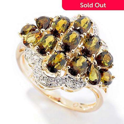 126-639 - Gem Treasures® 14K Gold 2.09ctw Green Tourmaline & White Zircon Multi Stone Ring