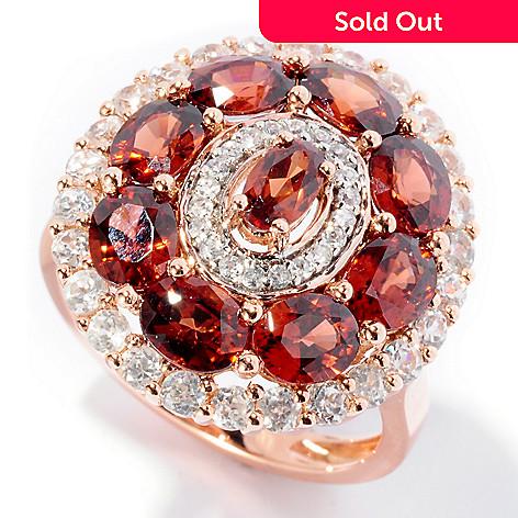 126-640 - Gem Treasures® 14K Rose Gold 4.88ctw Mocha & White Zircon Oval Ring