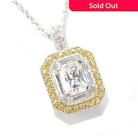 126-643 - Brilliante® Platinum Embraced™ 3.90 DEW Two-tone Emerald Cut Pendant w/ Chain