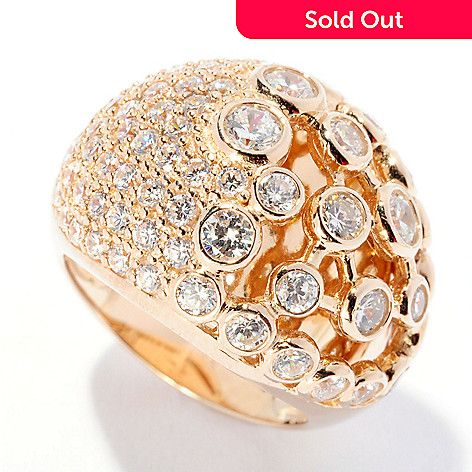 126-646 - Sonia Bitton 2.09 DEW Pave & Bezel Set Simulated Diamond Dome Ring