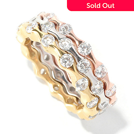 126-647 - Sonia Bitton 1.95 DEW Tension Simulated Diamond Three Band Ring Set