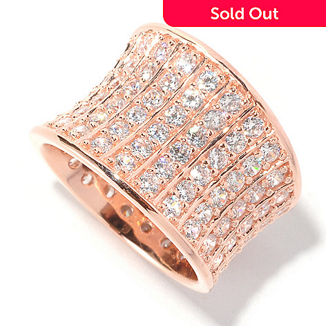 126-648 - Sonia Bitton 3.36 DEW Pave Set Simulated Diamond Concave Ring