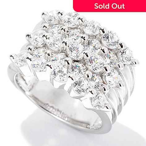 126-664 - Sonia Bitton 2.62 DEW Round Cut Five-Row Simulated Diamond Shared Prong Ring