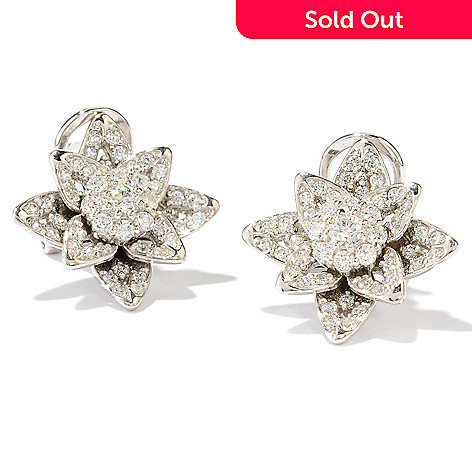 126-666 - Sonia Bitton 1.26 DEW Simulated Diamond Flower Stud Earrings w/ Omega Backs