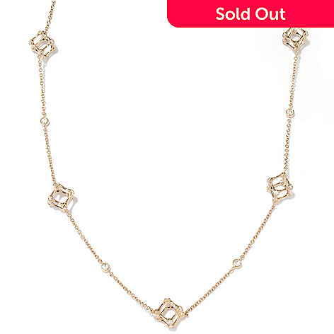 126-669 - Sonia Bitton Gold Embraced™ 24'' 1.99 DEW Simulated Diamond Cube Station Necklace