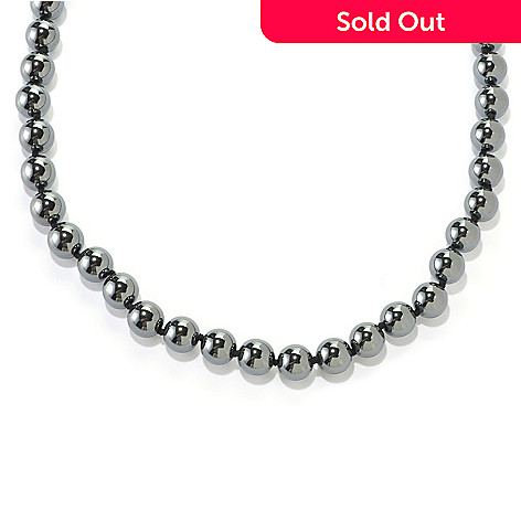 126-670 - Gem Treasures Sterling Silver 24'' Hematite Bead Necklace w/ Magnetic Clasp